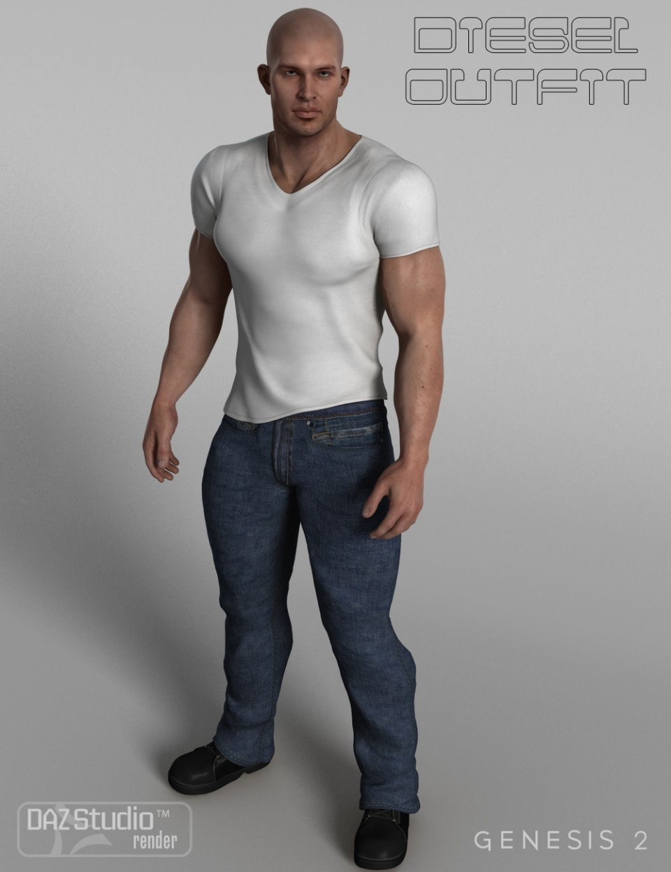 Diesel Outfit for Genesis 2 Male(s)_DAZ3D下载站