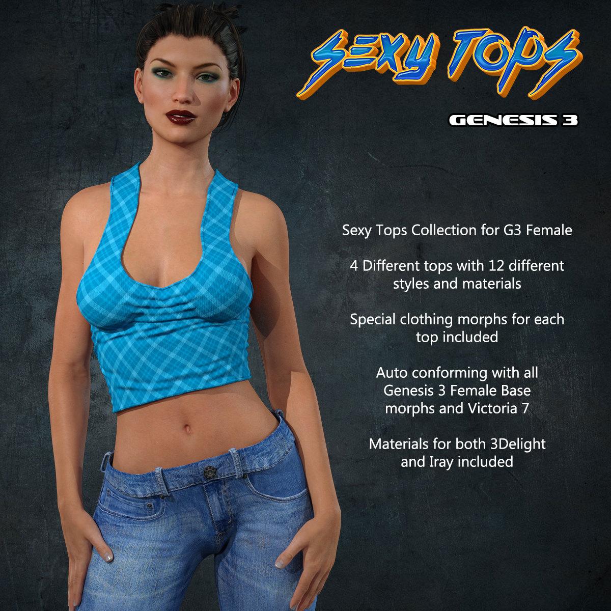Exnem Sexy Tops for G3 Female_DAZ3D下载站