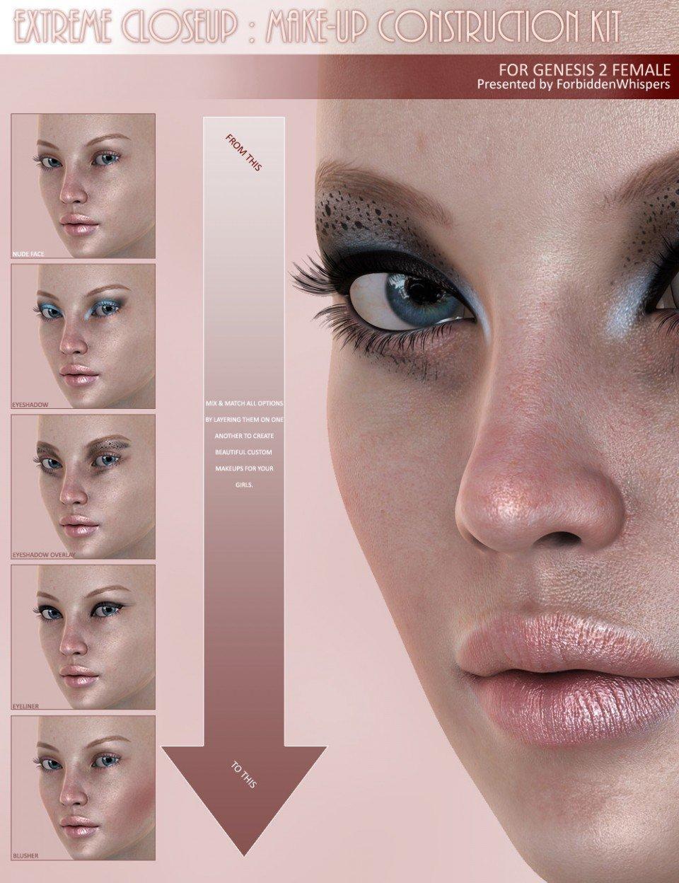 Extreme Closeup: Makeup for Genesis 2 Female(s)_DAZ3D下载站