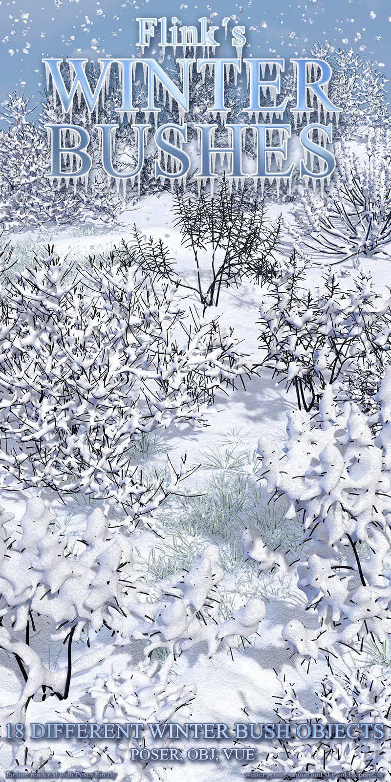 Flinks Winter Bushes_DAZ3D下载站