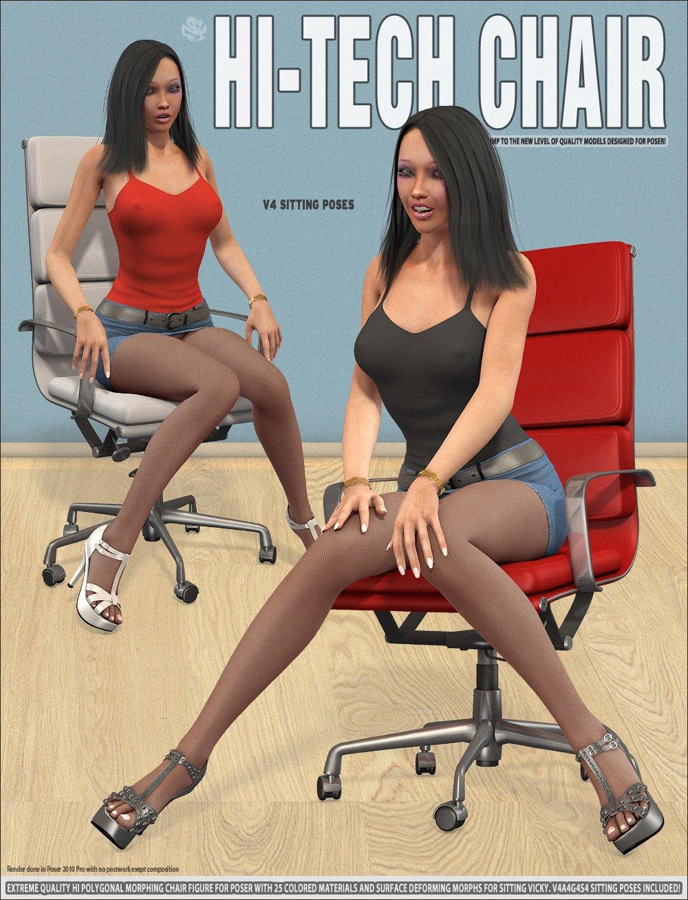 Hi-Tech Chair and V4 Sitting Poses_DAZ3D下载站