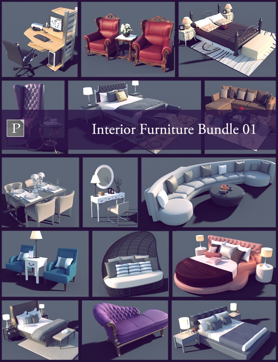 Interior Furniture Bundle 01_DAZ3D下载站