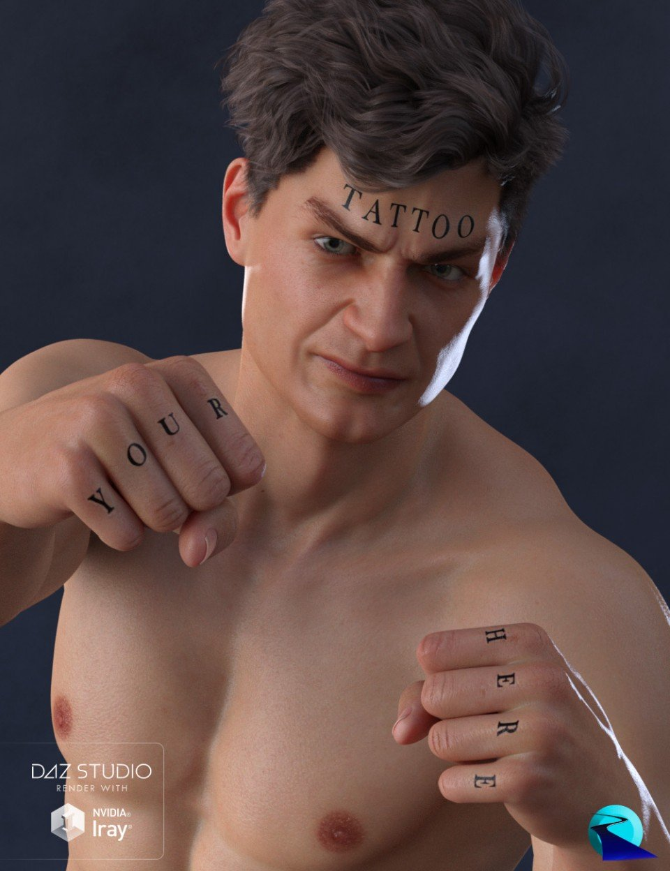 Word Tattoo for Genesis 3 and 8 Male_DAZ3D下载站