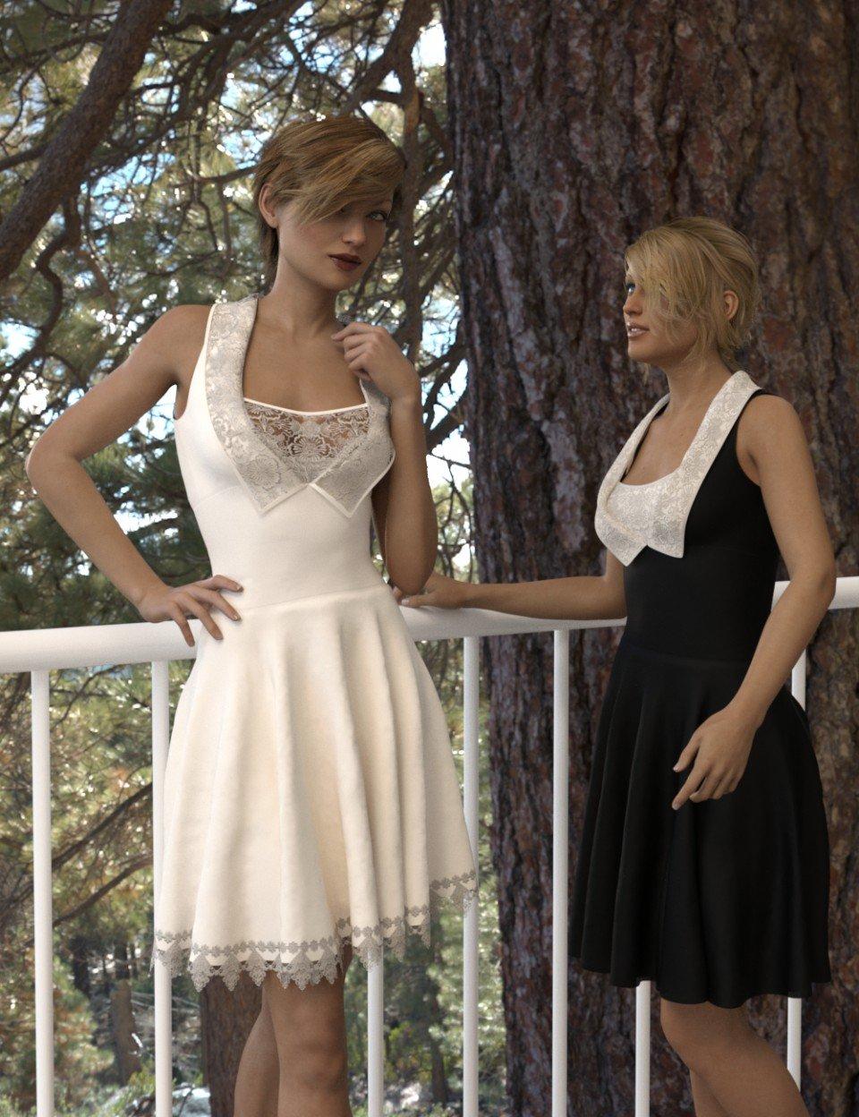 dForce Gored Dress for Genesis 3 and 8 Female(s)_DAZ3D下载站
