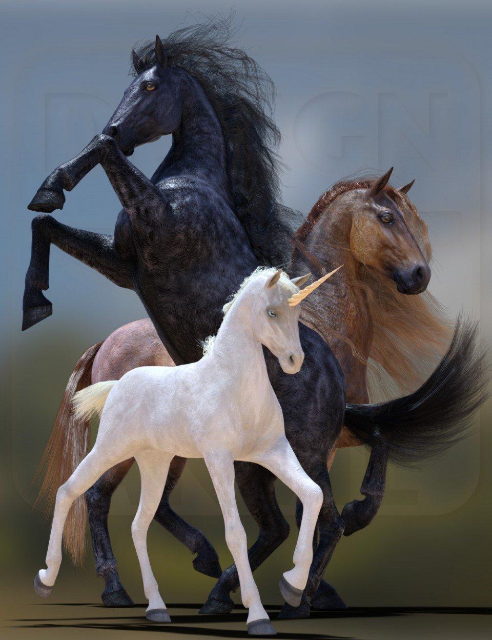 DA dForce Mane and Tail for Horse 2_DAZ3D下载站
