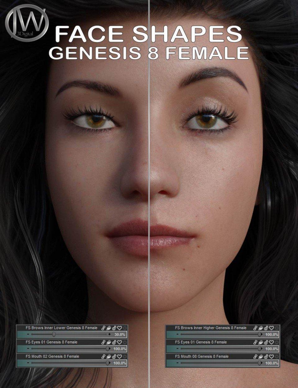Face Shapes for Genesis 8 Female_DAZ3D下载站