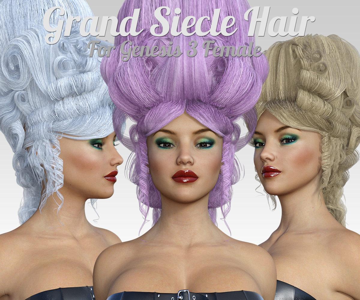 Grand Siecle Hair for G3 Females_DAZ3D下载站
