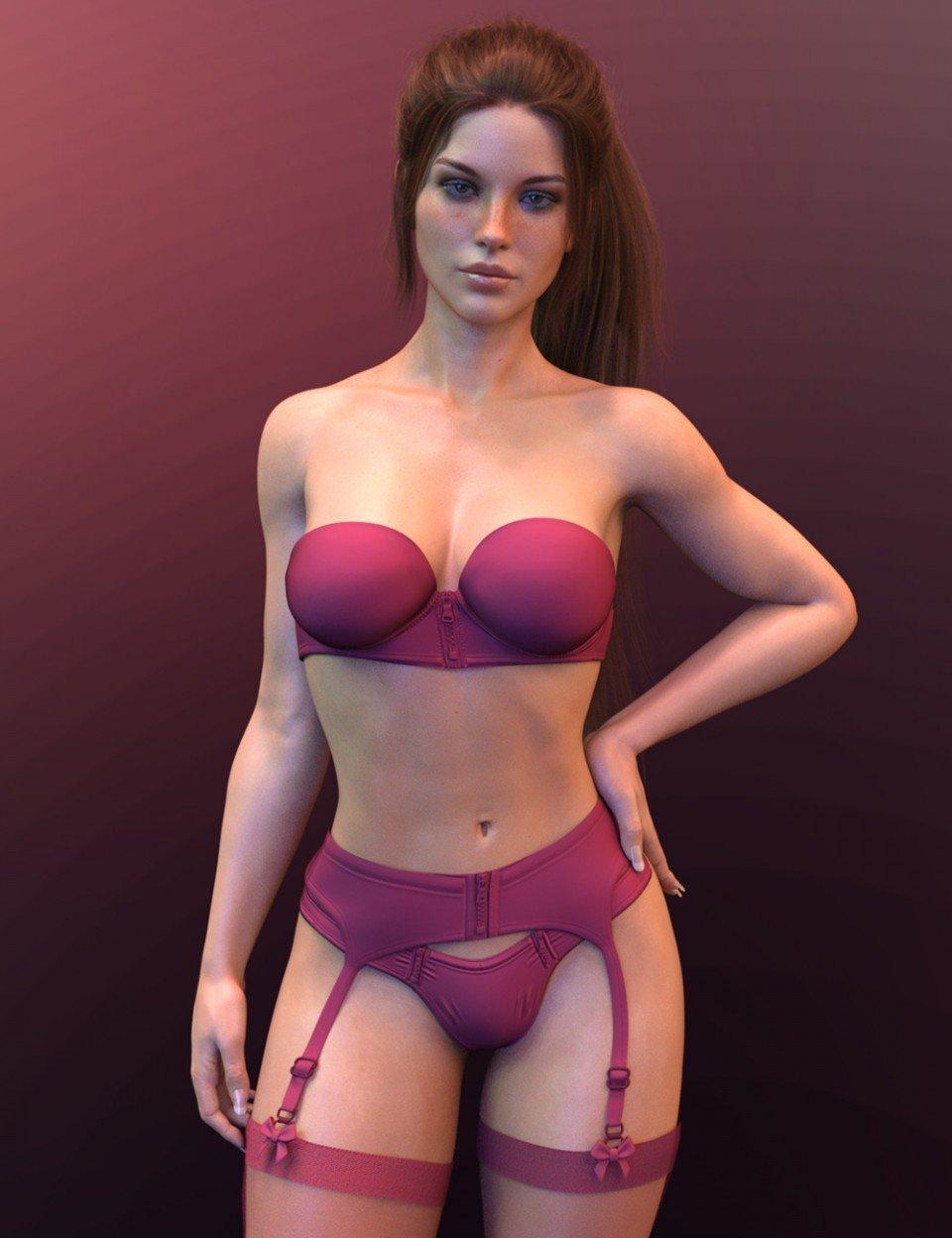 X-Fashion Cute Lingerie for Genesis 8 Female(s)_DAZ3D下载站
