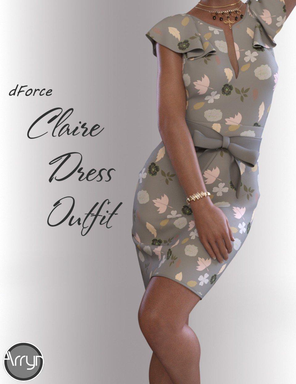 dForce Claire Cocktail Dress outfit for Genesis 8 Female(s)_DAZ3D下载站