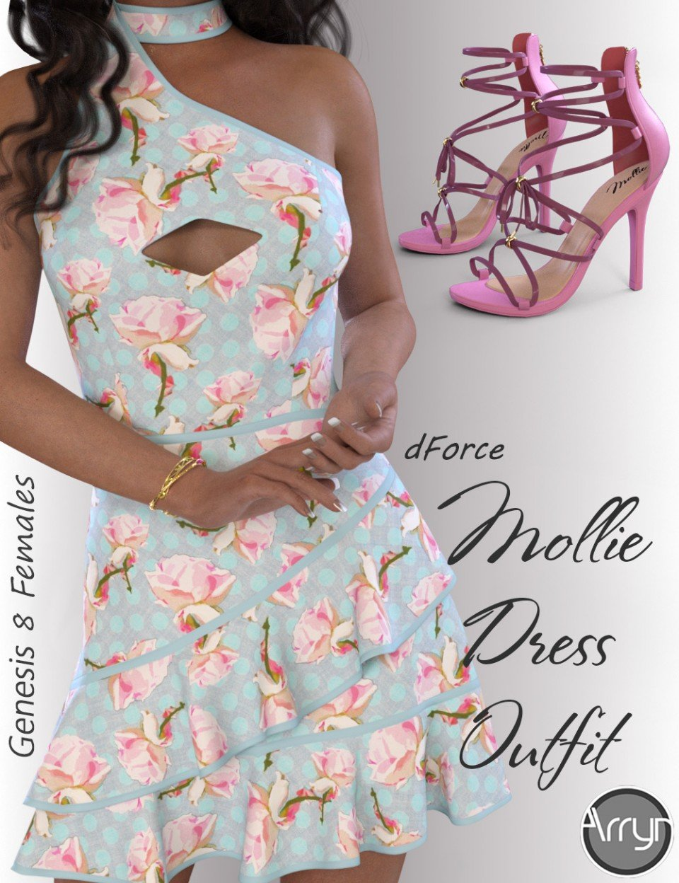 dForce Mollie Candy Dress Outfit for Genesis 8 Female(s)_DAZ3D下载站