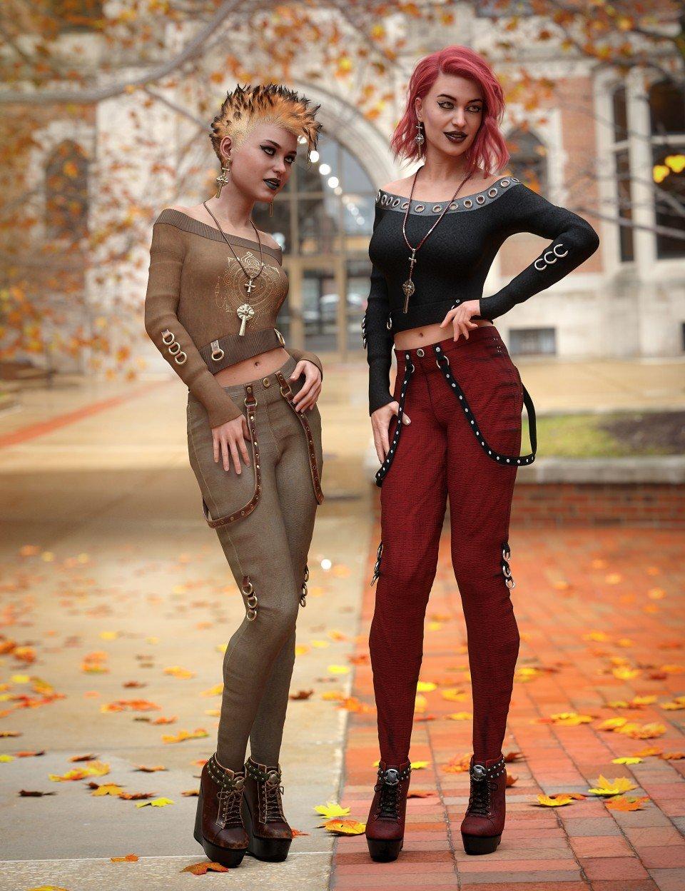 dForce Raven Black Outfit Textures_DAZ3D下载站