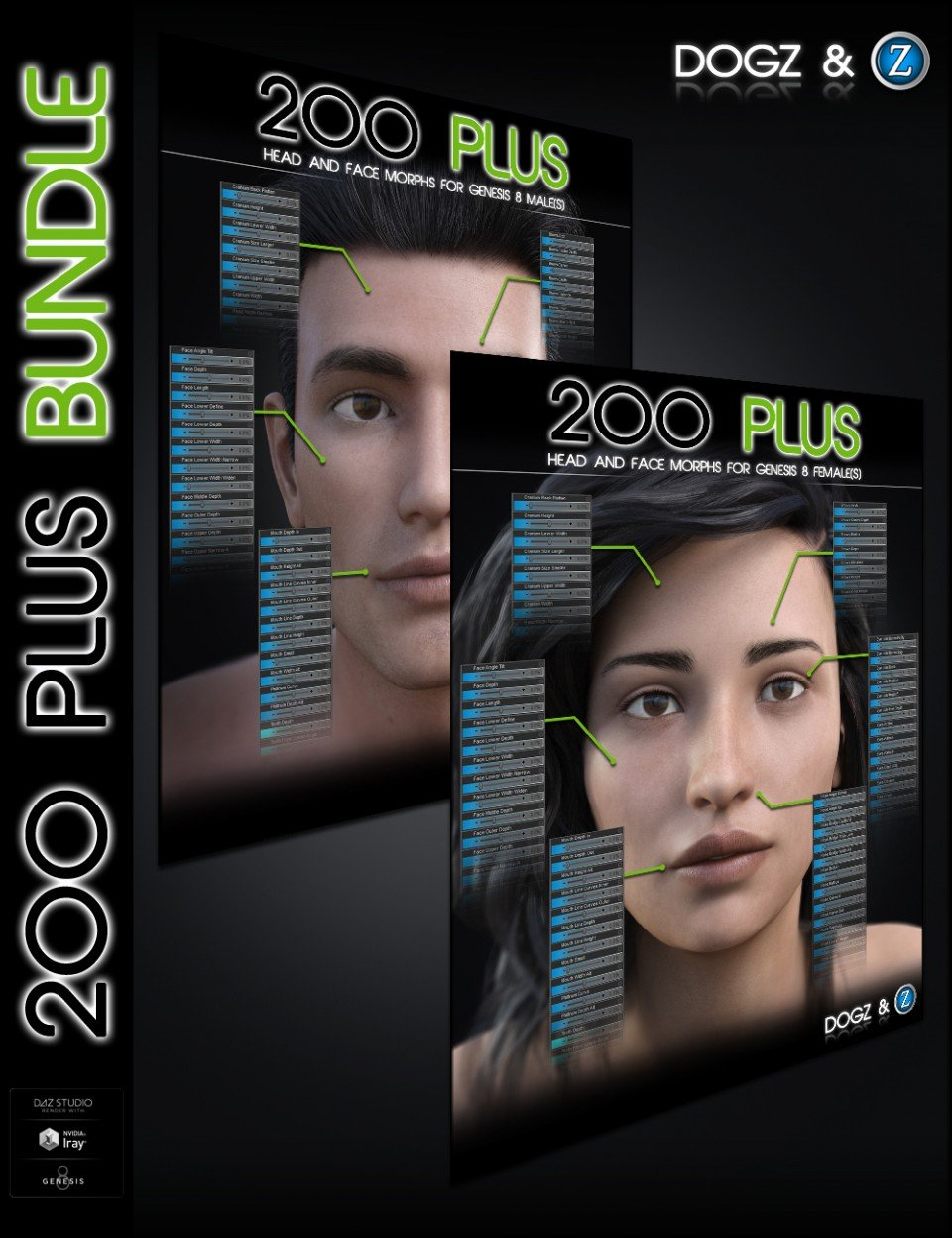 200 Plus Head and Face Morphs Bundle for Genesis 8 Female(s) and Male(s)_DAZ3D下载站