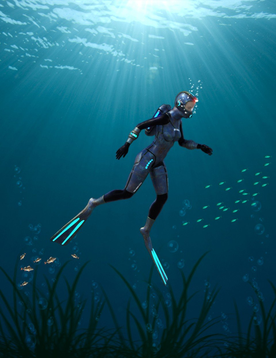 Deep Sea 6 Dive Suit for Genesis 8 Male(s) and Female(s)_DAZ3D下载站