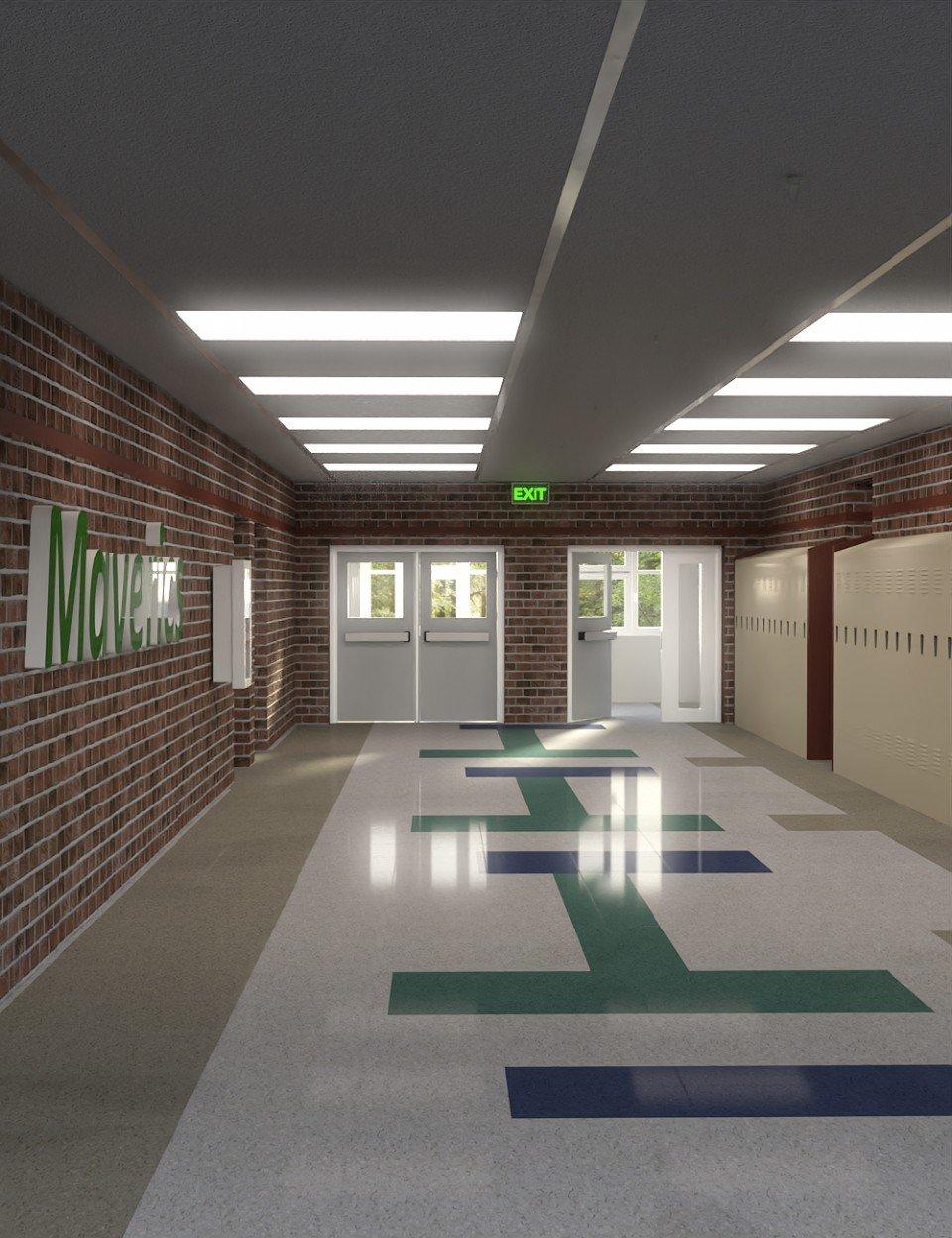 High School Hallway 2_DAZ3D下载站