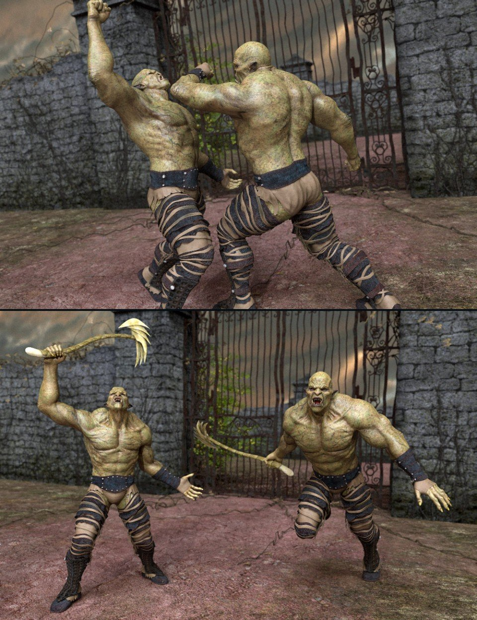 Orc Battle Poses for Orc HD and Genesis 8 Male_DAZ3D下载站