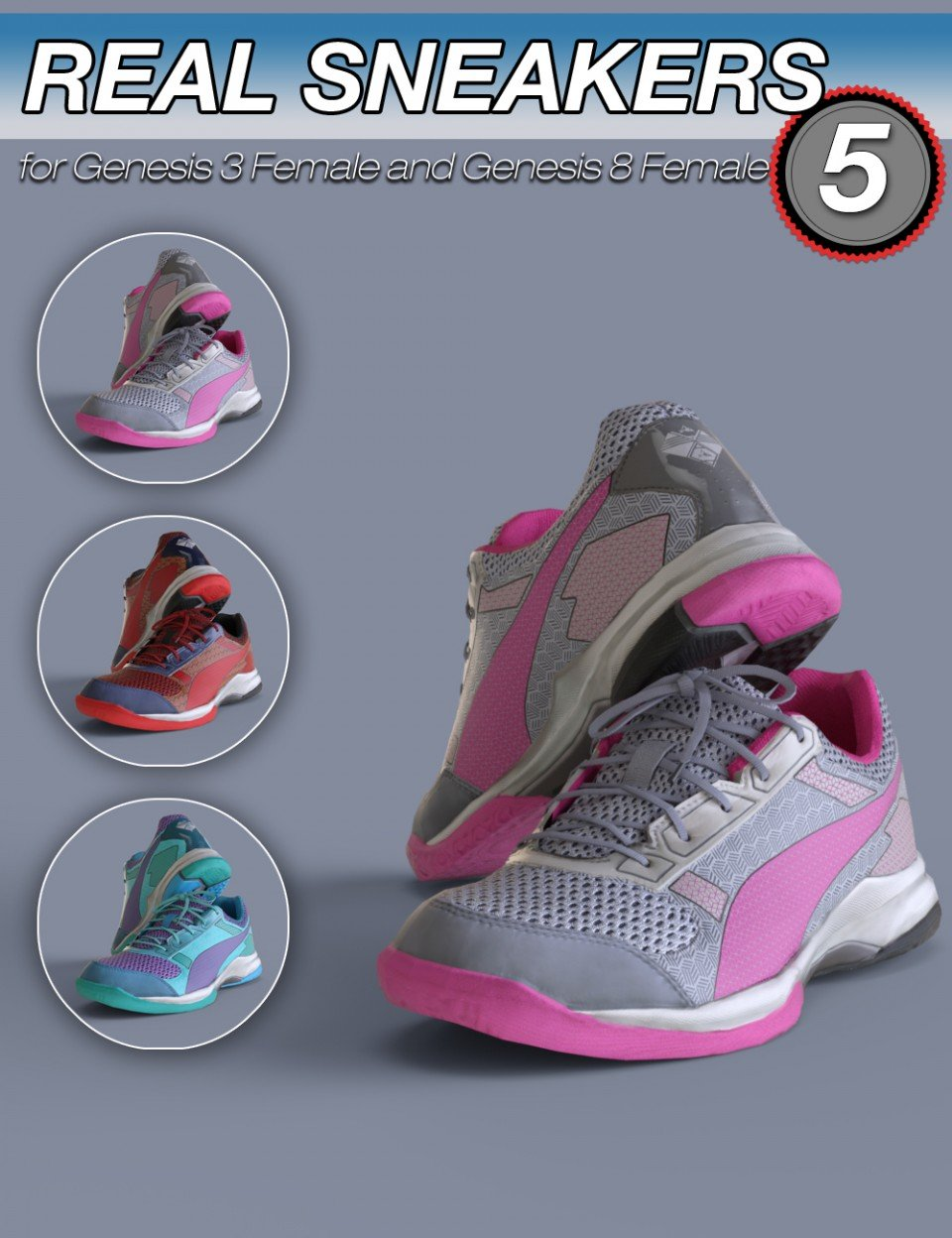 S3D Real Sneakers 5 for Genesis 3 and 8 Female(s)_DAZ3D下载站