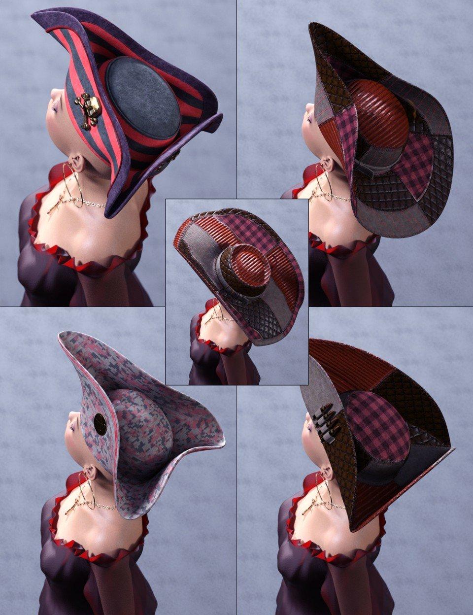Steam Punk Arrr Pirate Hats_DAZ3D下载站