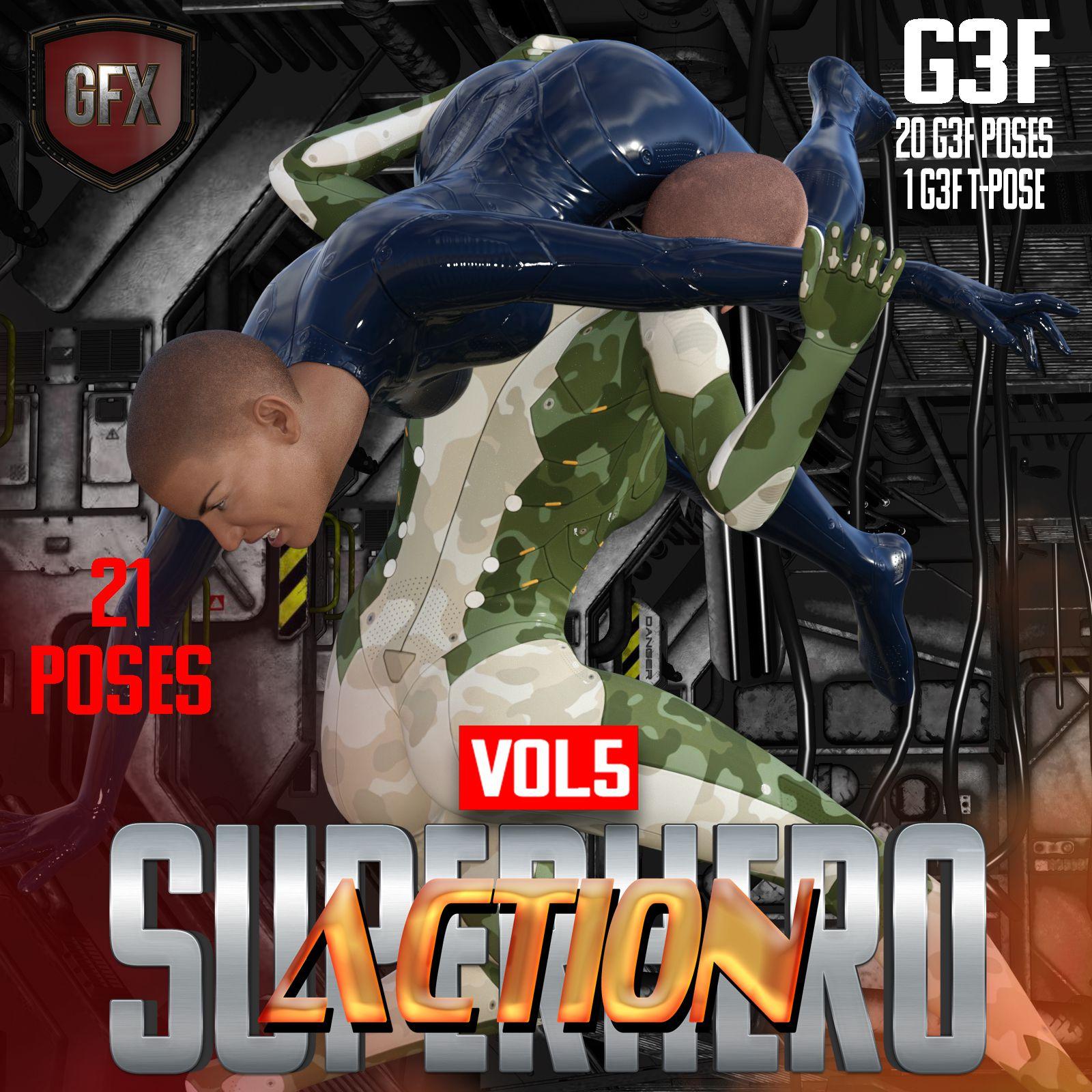 SuperHero Action for G3F Volume 5_DAZ3D下载站