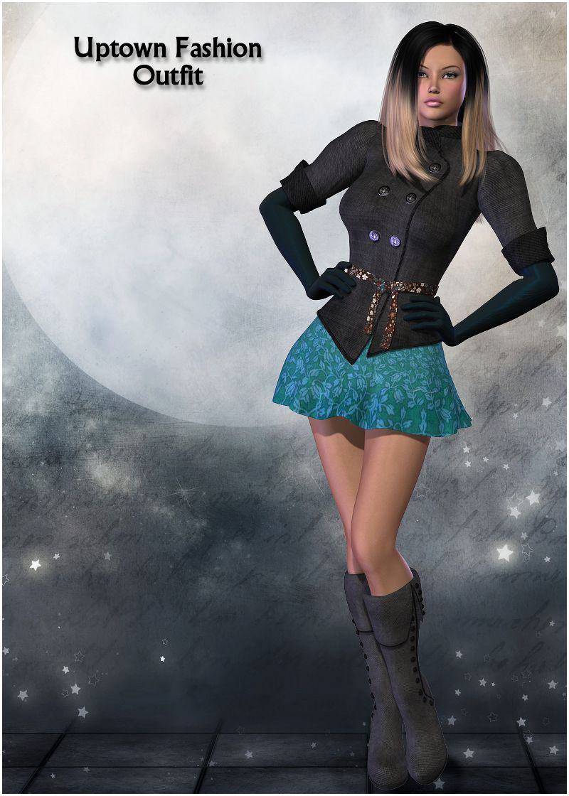 Uptown Fashion Outfit for V4_DAZ3D下载站