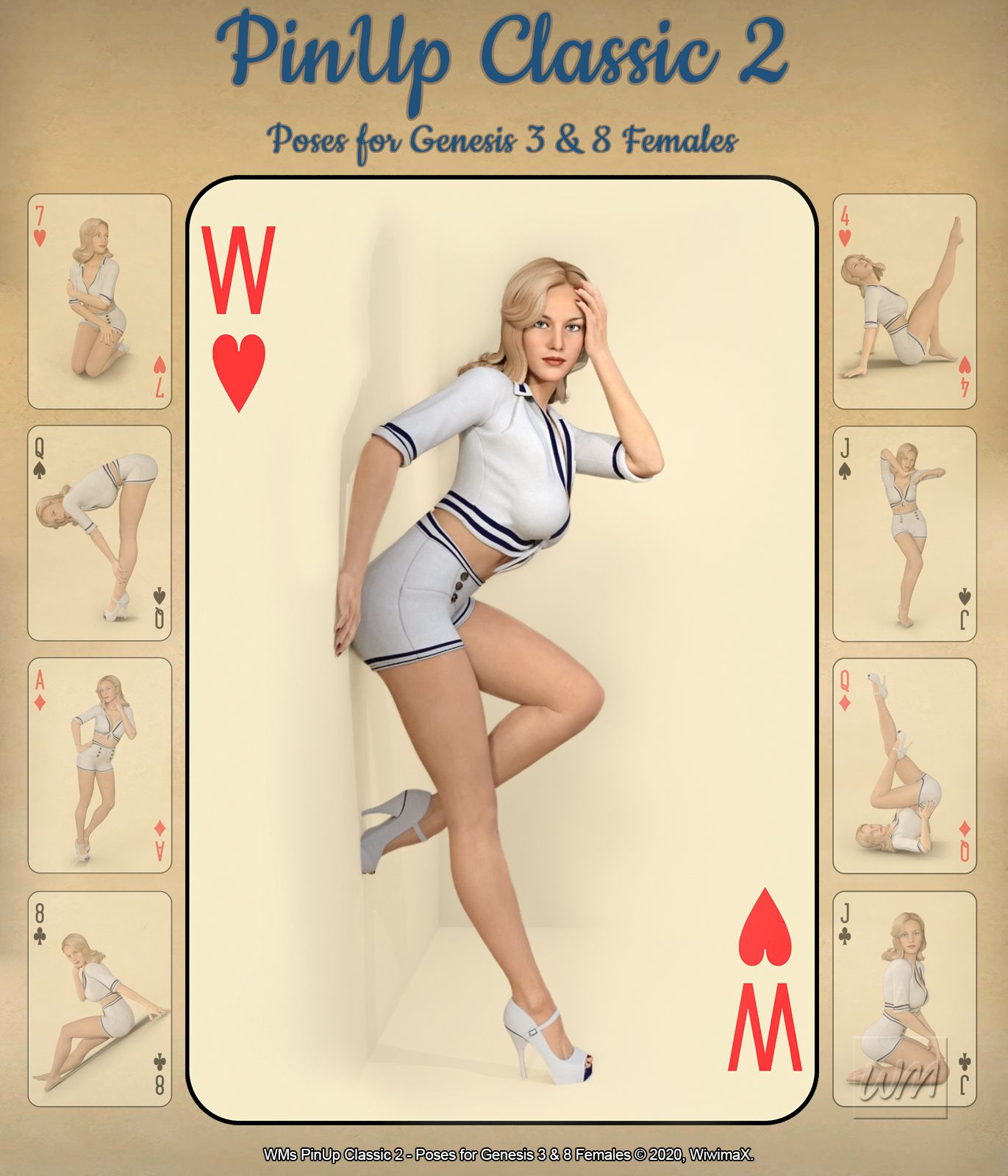 WMs PinUp Classic 2 – Poses for Genesis 3 and 8 Females_DAZ3D下载站