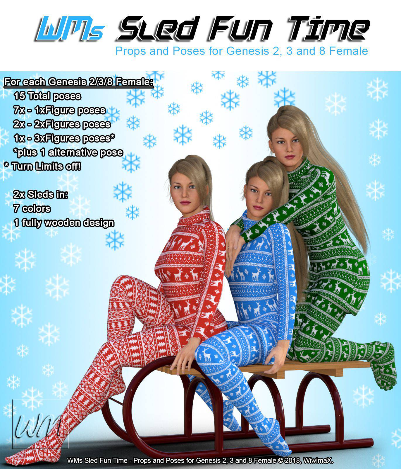WMs Sled Fun Time – Props and Poses for Genesis 2, 3 and 8 Female_DAZ3D下载站
