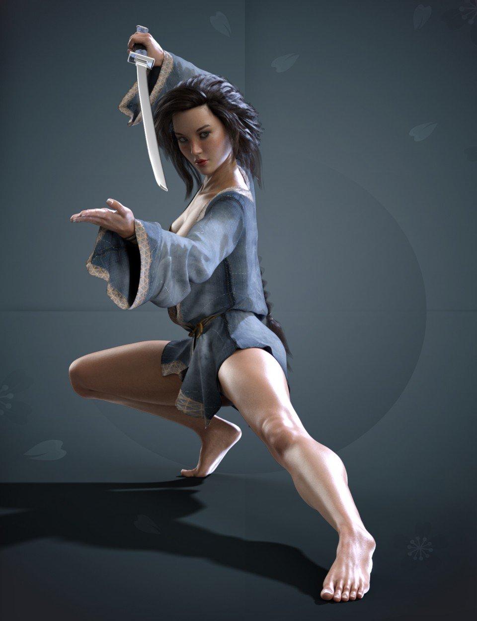 X-Fashion Warrior Kimono for Genesis 8 Female(s)_DAZ3D下载站