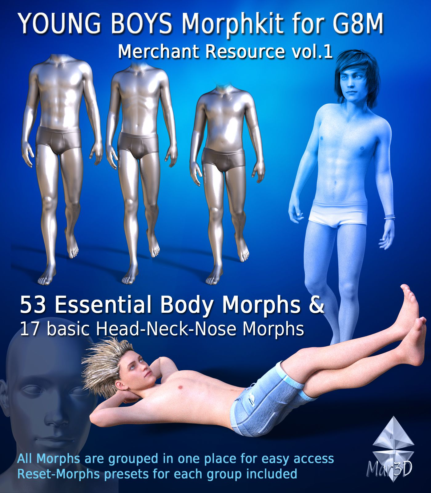 Young Boys Morphkit for G8M – Merchant Resource 1_DAZ3D下载站
