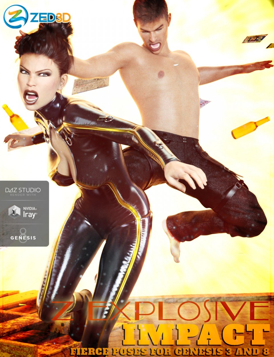 Z Explosive Impact Poses and Partials for Genesis 3 and 8_DAZ3D下载站