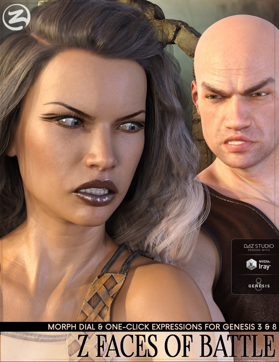 Z Faces Of Battle – Dialable and One-Click Expressions for Genesis 3 and 8_DAZ3D下载站