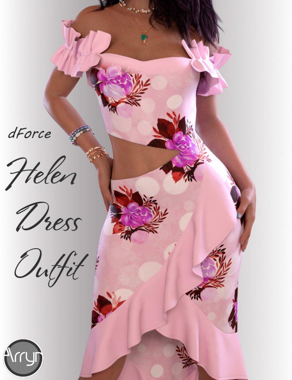 dForce Helen Cocktail Dress Outfit for Genesis 8 Female(s)_DAZ3D下载站