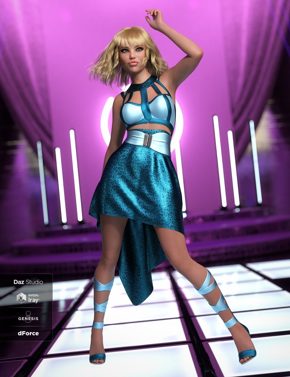 dForce Strappy High Low Outfit Textures_DAZ3D下载站