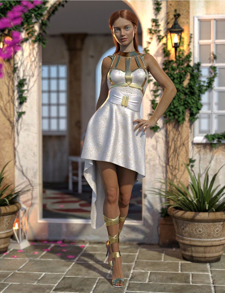 dForce Strappy High Low Outfit for Genesis 8 Female(s)_DAZ3D下载站