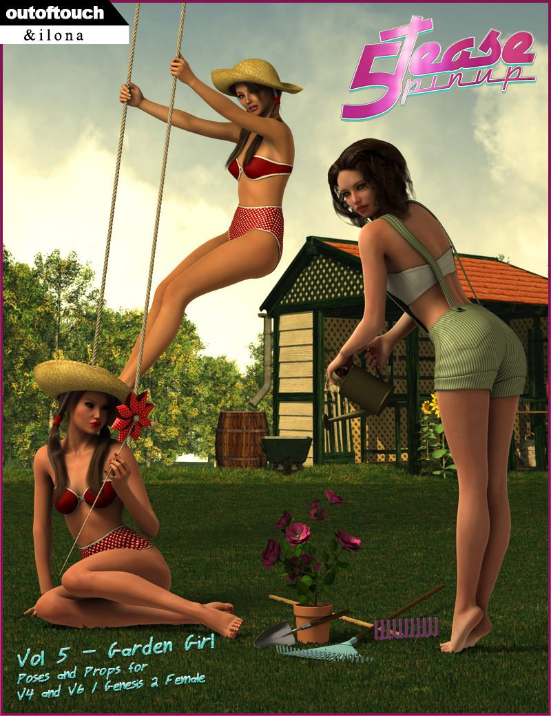 5TEASE PinUp Vol 5: Garden Girl – Poses and Props for V4 & G2F_DAZ3D下载站