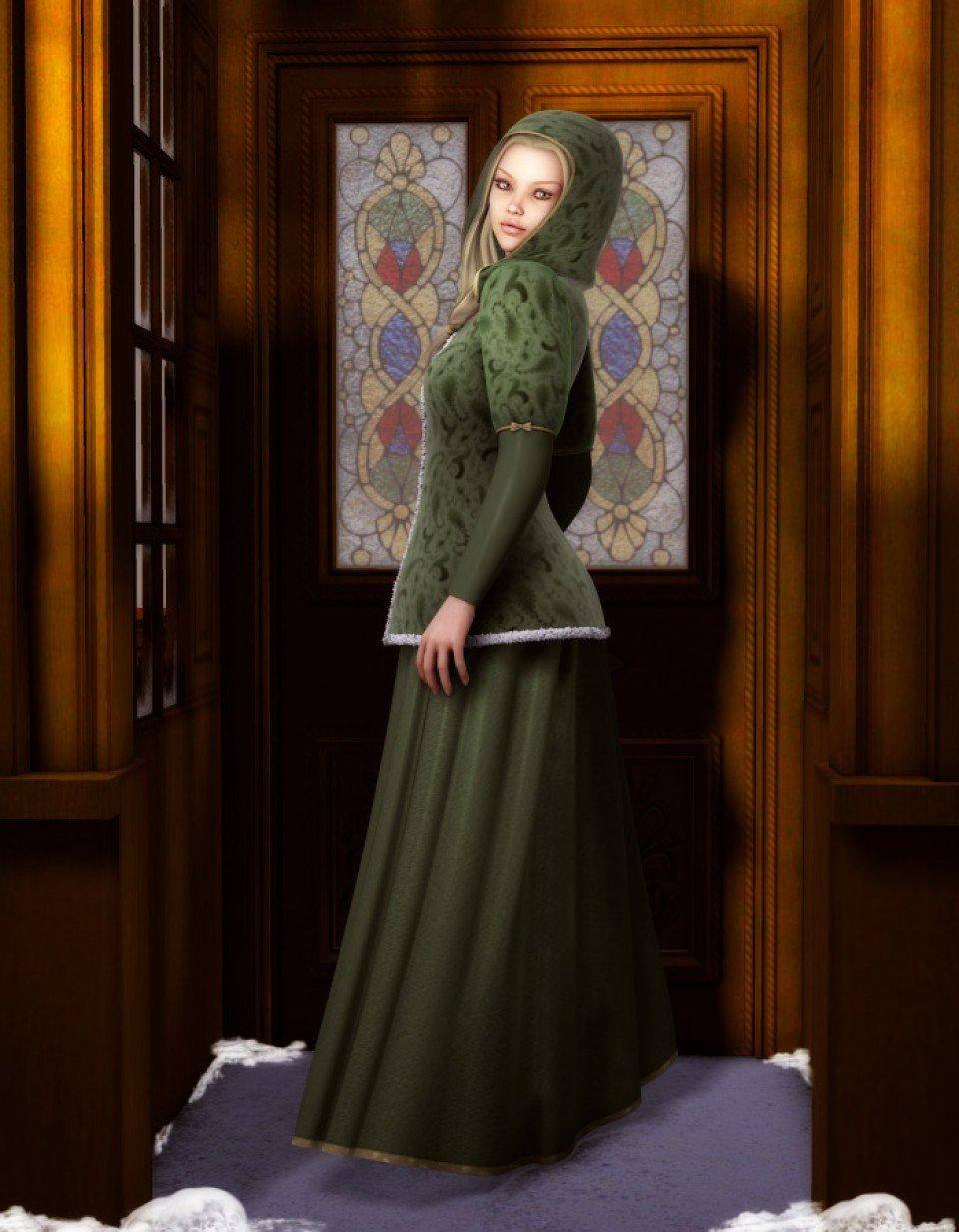 Caroling Dress for V4_DAZ3D下载站