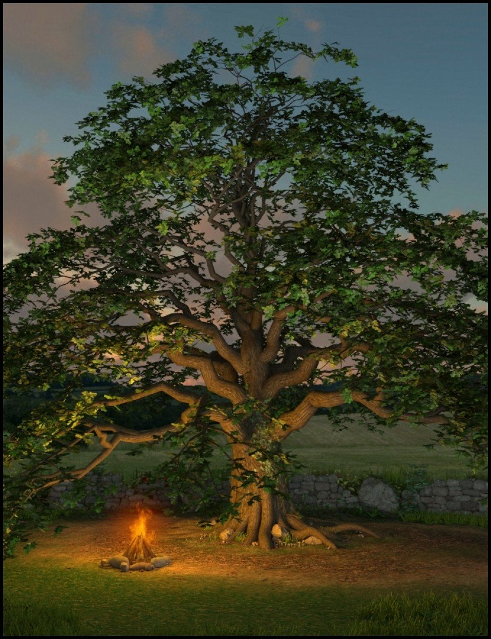 Merlin's Oak, Plants and Props Set_DAZ3D下载站