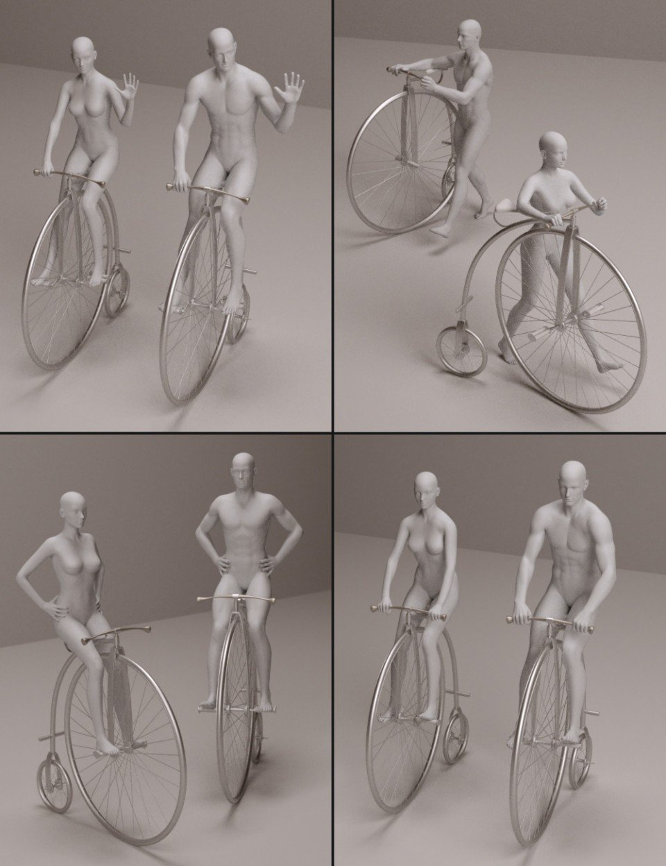 Old Fashioned Bicycle Poses for M5/V5_DAZ3D下载站