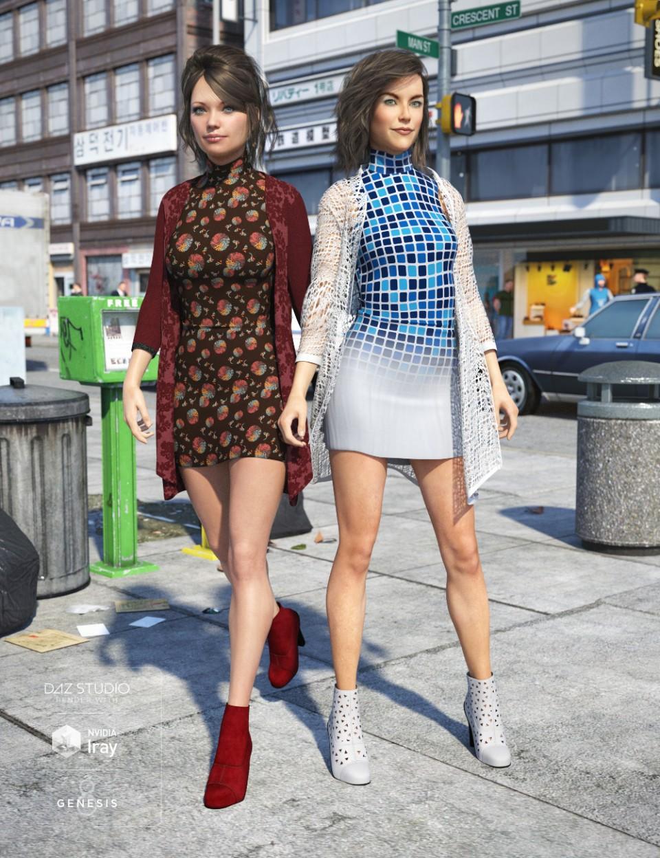 Cardigan Dress Outfit Textures_DAZ3D下载站