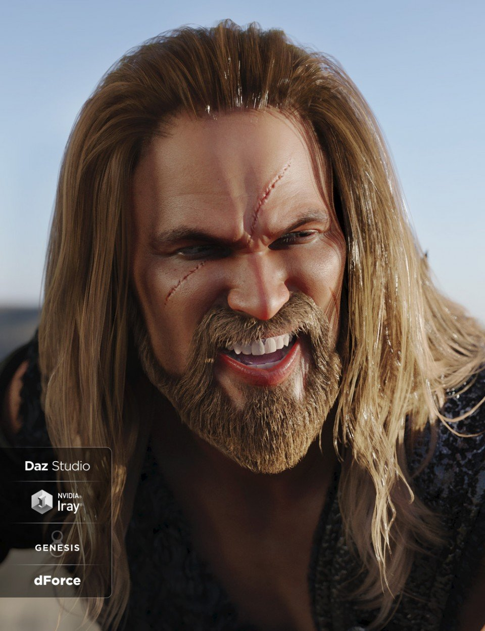 Drago Hair and Beard with dForce for Genesis 3 and Genesis 8 Male(s)_DAZ3D下载站