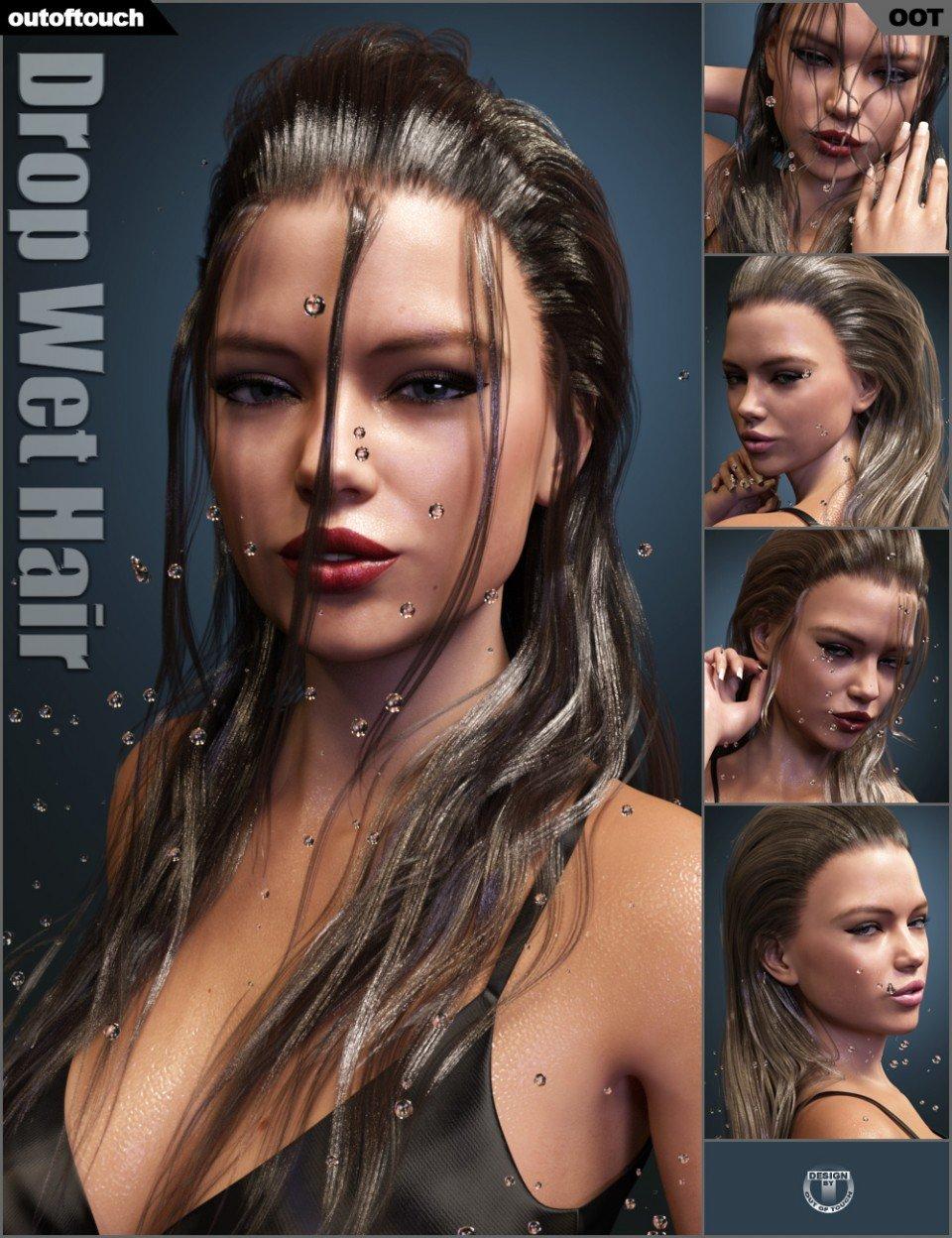 Drop Wet Hair for Genesis 3 Female(s) & Genesis 8 Female(s) (Update)_DAZ3D下载站