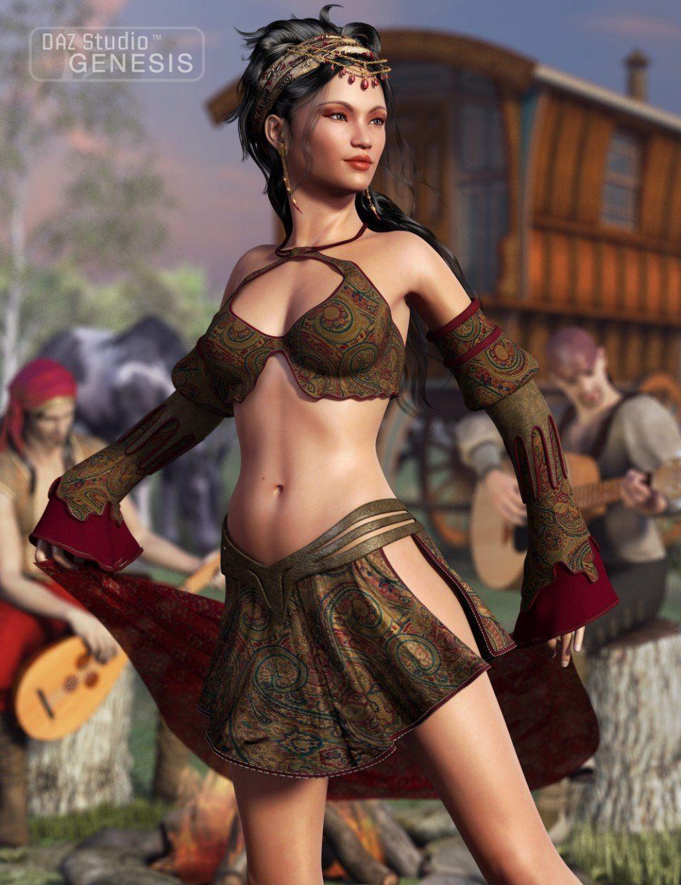Gypsy Dancer Outfit & Textures_DAZ3D下载站