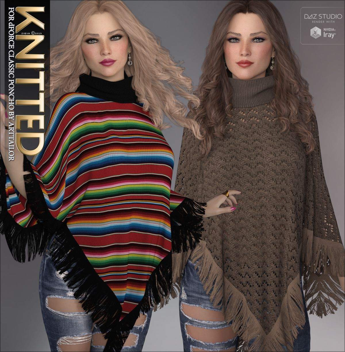Knitted for dForce Classic Poncho_DAZ3D下载站
