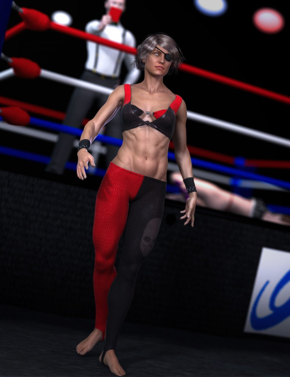 Outlaw of the Ring Outfit for Genesis 2 Female(s)_DAZ3D下载站