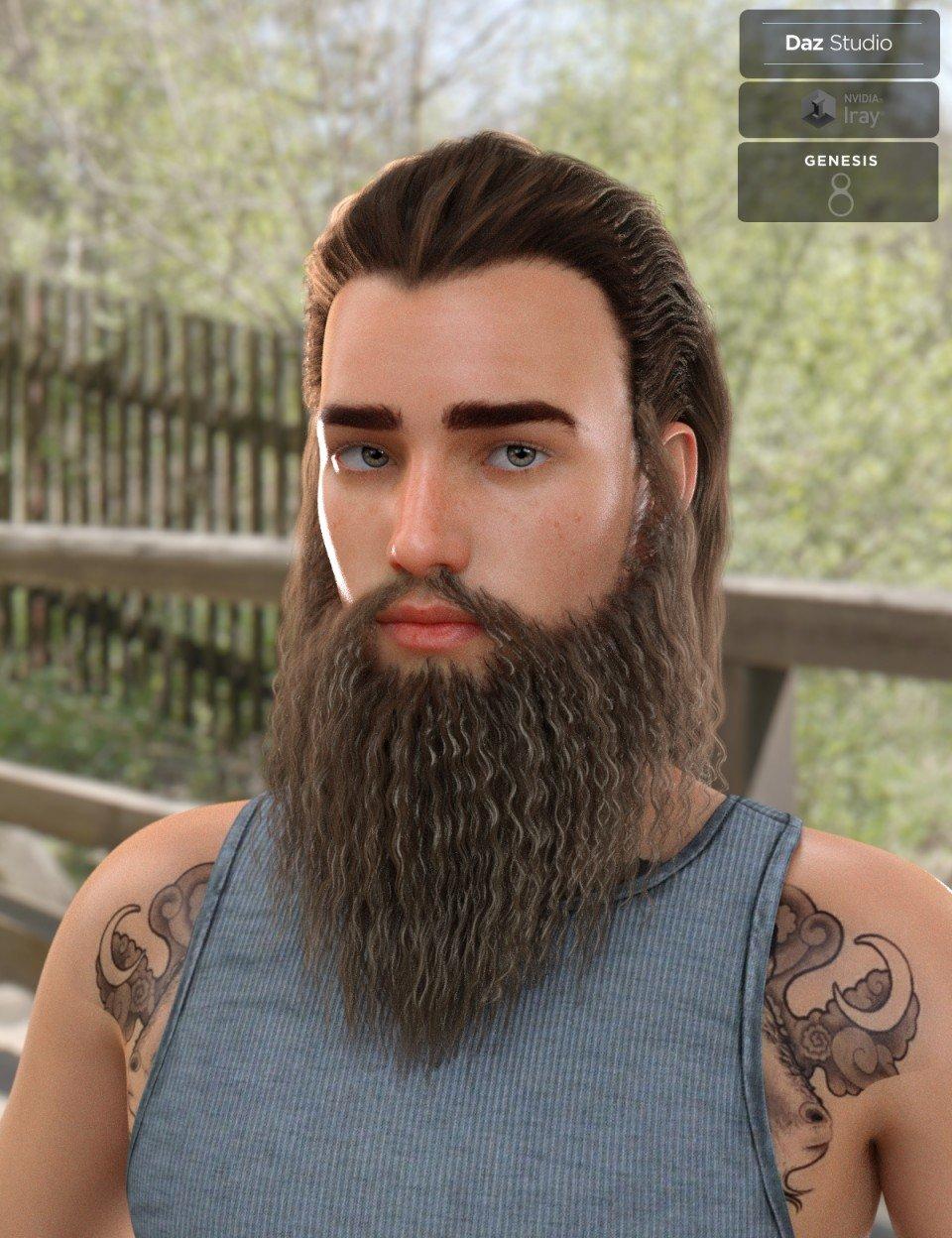 Ryanno Hair and Beard Set for Genesis 8 Male_DAZ3D下载站