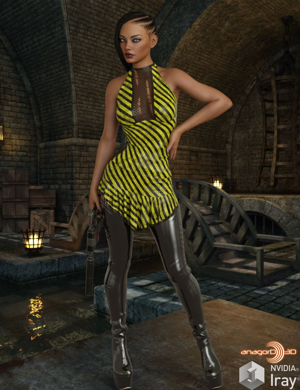 VERSUS – dForce Untamed Dress for Genesis 8 Females_DAZ3D下载站