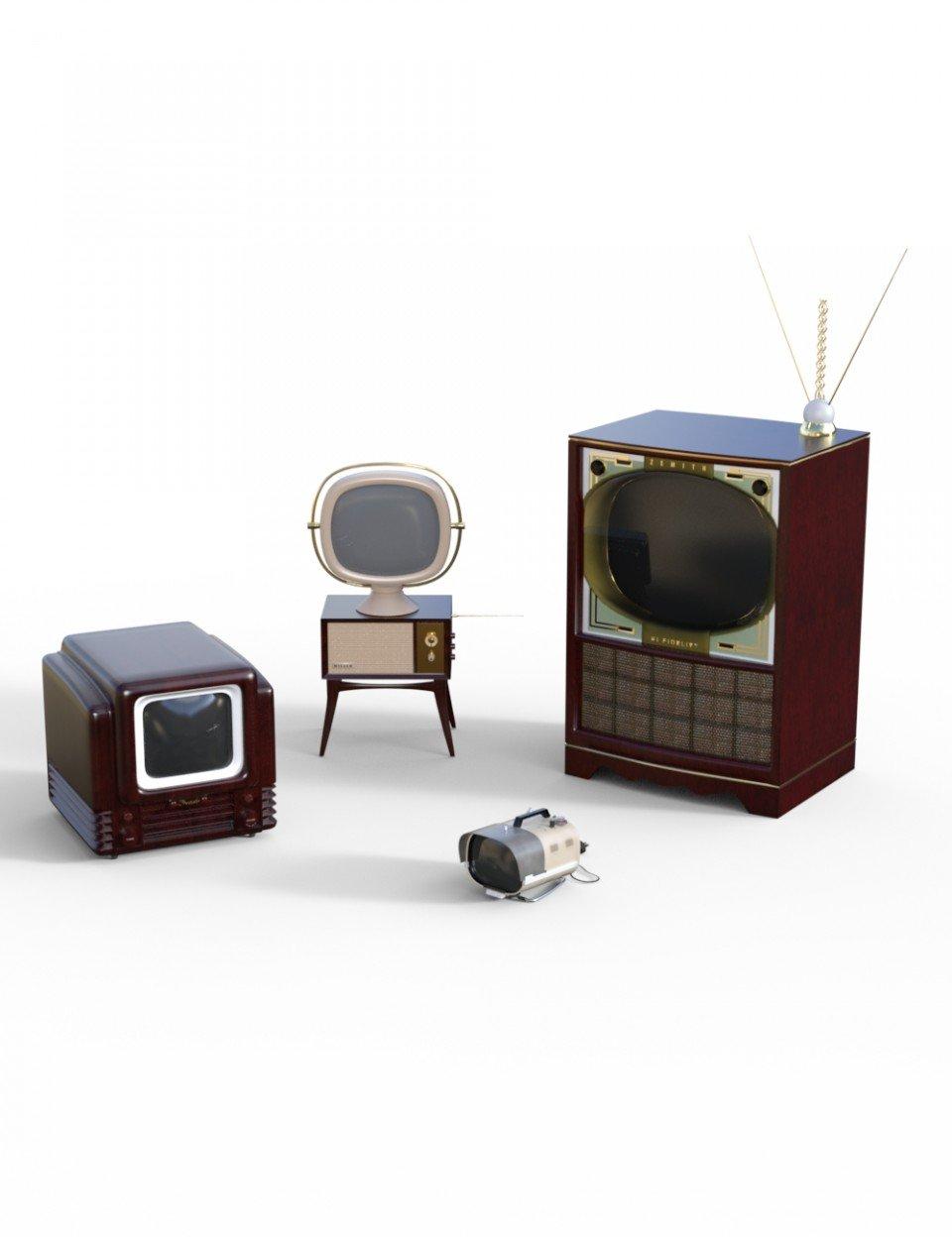 Vintage Television Sets_DAZ3D下载站