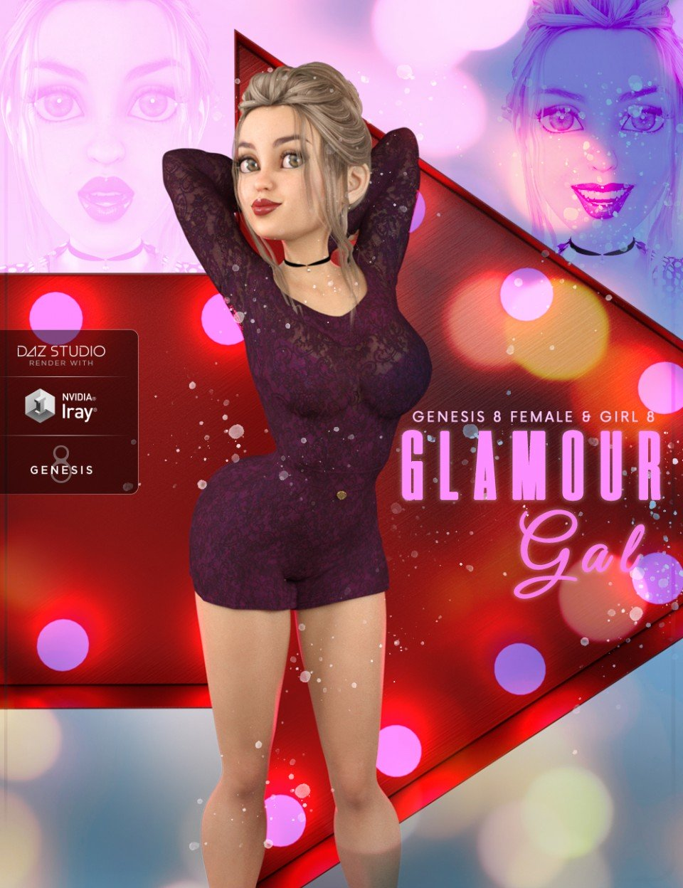 Z Glamour Gal – Poses and Expressions for The Girl 8 and Genesis 8 Female_DAZ3D下载站
