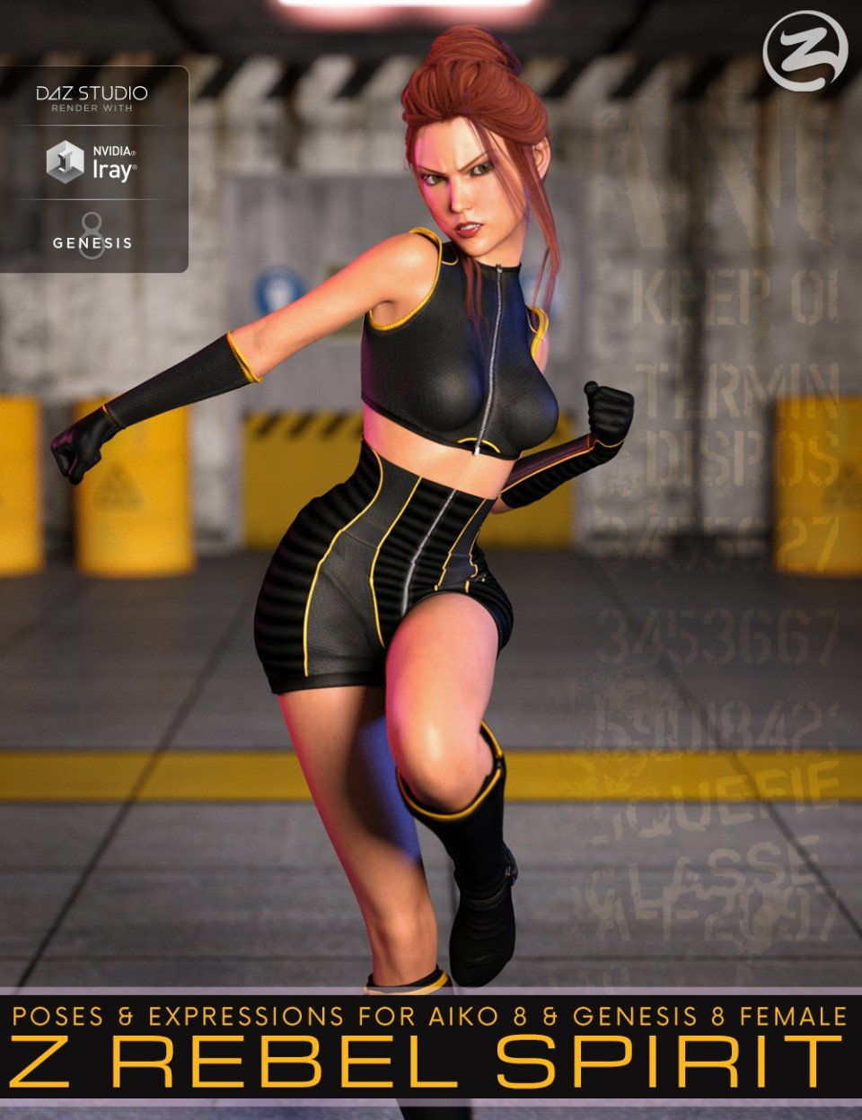 Z Rebel Spirit – Poses and Expressions for Aiko 8 and Genesis 8 Female_DAZ3D下载站