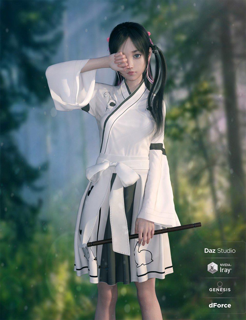 dForce Modern Kimono for Genesis 8 Female(s)_DAZ3D下载站
