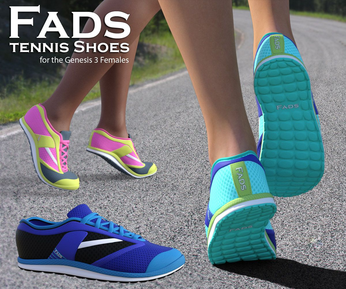 FADS Tennis and Running Shoes for G3F_DAZ3D下载站