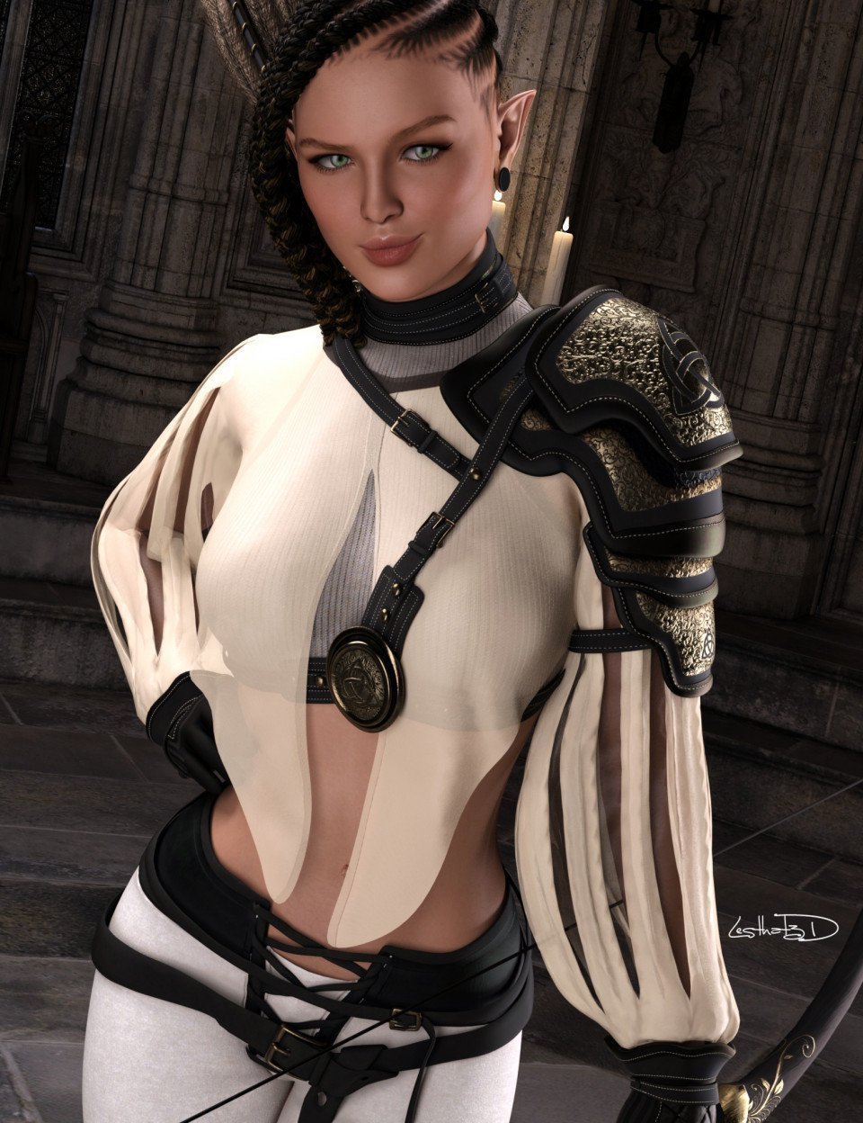 dForce Elven Archer Outfit for Genesis 8 Females_DAZ3D下载站